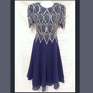 Vintage Prom Dress Blue Silk Silver Sequin Leaves